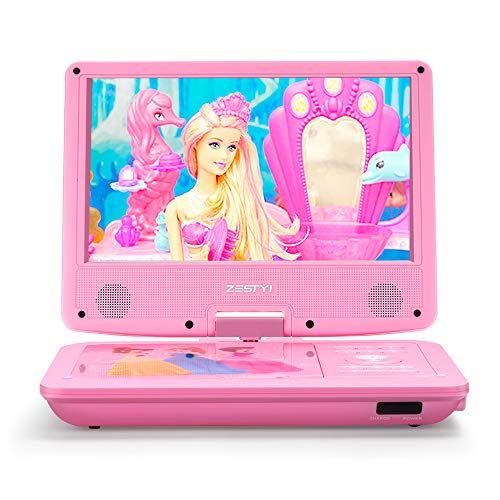"ZESTYI 9"" Portable DVD Player for Kids with Car Headrest Mount Holder, Rechargeable Battery, Wall Charger, Car Charger, SD Card Slot, USB Port & Swivel Screen (Pink)"