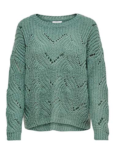 ONLY Damen Strickpullover Detailreicher SChinois Green