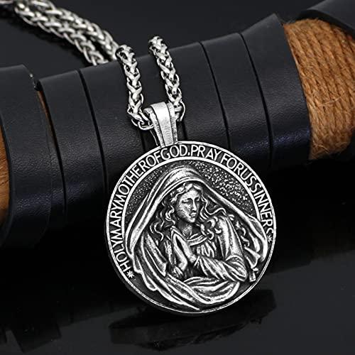 JIAQINGRNM Collares Enseñe Al Colgante Cristiano de la Virgen María A Orar por la Virgen María Católica para Que Ore por Nosotros Los Pecadores Collares de la Amistad para Collar Pareja
