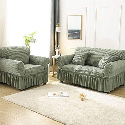 YUNZHONG Funda elástica para sofá Seersucker universal para sillón con falda de volantes, funda duradera para muebles de 3 plazas, 190 – 230 cm, verde