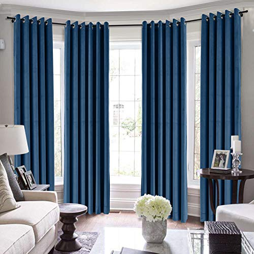 TWOPAGES Extra Long Curtains, 204 Inch Long Velvet Thermal Insulated Curtains for Living Room/Bedroom Blackout Window Drape (MJ11-110 Sapphire Blue 1 Panel 50Wx204L)