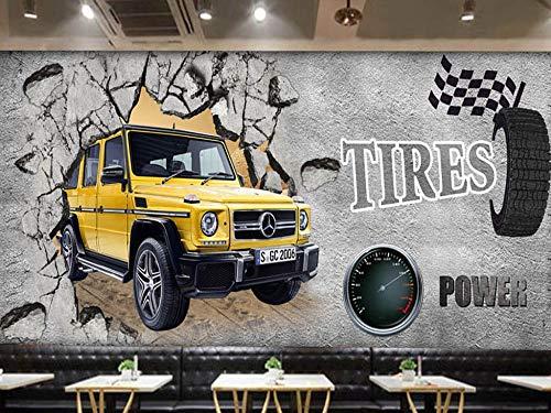 Murale Carta da parati europea e americana muro di cemento auto si rompe nel bar Coffee Shop Tv divano sfondo muro Home Decor personalizzato di qualsiasi dimensione
