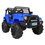 VALUE BOX Safety 12V Ride On Car Truck, Battery Electric Kids Toddler Motorized Vehicles Toy Car w/ Remote Control, 3 Speeds, Spring Suspension, Seat Belts, LED Lights and Realistic Horns (Blue)