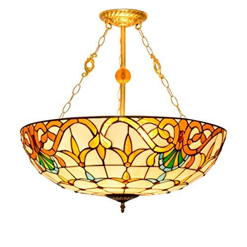 Tiffany Luces pendientes 24 pulgadas lámpara pendiente del vitral de Tiffany Sala Comedor Dormitorio de la lámpara pendiente de la lámpara retro creativo barroco europeo