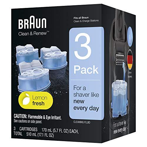 Braun Clean&Renew Cartuchos de recarga para afeitadora eléctrica hombre, 3 unidades, compatibles con todos los centros SmartCare Y Clean&Charge