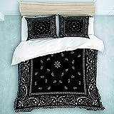 daoyiqi King Size Duvet Cover Set, Bed Sets of 3 Floral Paisley Black Bandana Pattern Abstract Bandanna Border Scarf White Kerchief, Modern All Seasons Blanket Bedroom Decor