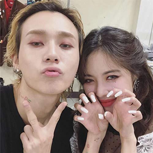 CLOAAE Korean Ins y White Solid Color False Nail 24pcs Ms. Full Nail Tip Medium Long Code Cute False Nail