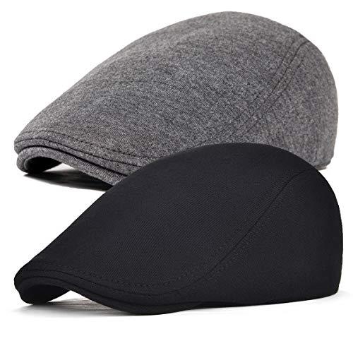 FEINION 2 Pack Men Cotton Newsboy Cap Soft Fit Cabbie Hat (Black/Dark Grey)