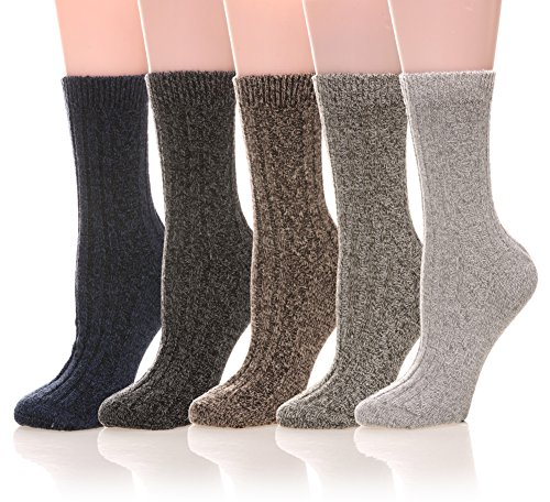 Womens 5 Pairs Soft Thick Comfort Casual Cotton Warm Wool Crew Winter Socks (5 Pack Solid color B)