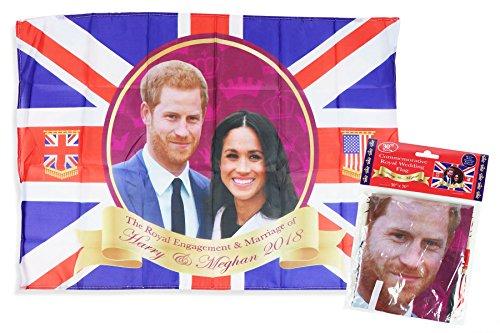 Bandera conmemorativa de boda real con bandera del Príncipe Harry Meghan de...