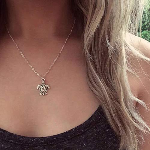 Jovono - Collar con colgante de tortuga, pequeña y simple, para mujer y niña