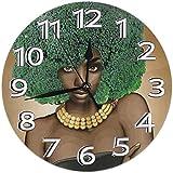 XXSCXXSC Reloj de Pared Vegano Afro Mujer Negra Americano Verde Lima Redondo Reloj de Pared para el hogar Sin tictac Relojes Decorativos silenciosos con Pilas