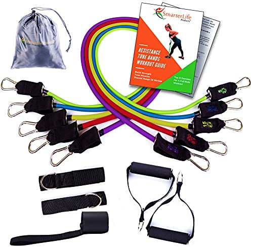 Resistant Bands for Working Out – Exercise Bands for Legs and Butt - 5 Bands, 2 Handles, 2 Ankle Straps, Door Anchor, Workout Guide – Resistance Bands Set for Physical Therapy, Travel and Home Gym