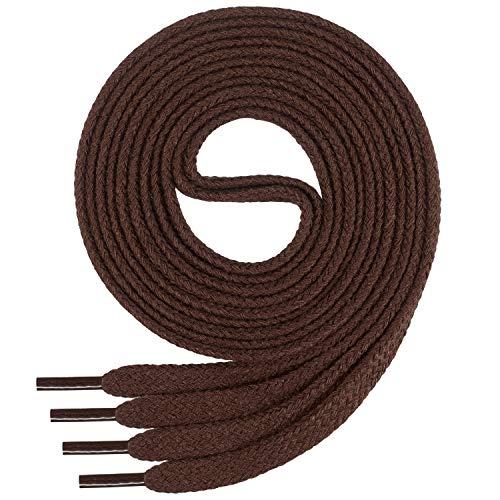 Di Ficchiano Flache SCHNÜRSENKEL aus 100% Baumwolle für Sneaker und Sportschuhe - sehr reißfest - ca. 7 mm breit-brown-120