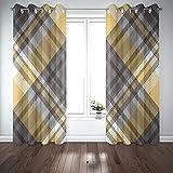Cortinas de ventana, cortinas 2 paneles Patrón de cuadros a cuadros en colores gris claro amarillo Textura de tela abstracta Adorno de tartán Fondo de impresión para sala de estar Dormitorio D & eacut