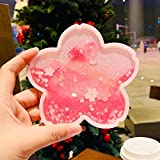 BONYOUN Funny Sakura Coasters, Cute Quicksand Glitter Drink Coasters for Women Kids Gift, Silicone Non-slip Insulation Coasters for Home Decor Sakura