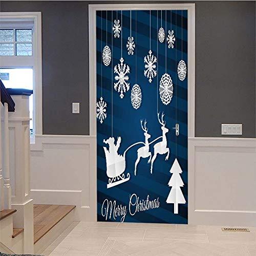 Deur Stickers 3D Kerstmis Present Decoratie Mural Patroon Milieuvriendelijke Cover Muurstickers (77X200Cm) voor Woonkamer Slaapkamer Badjas