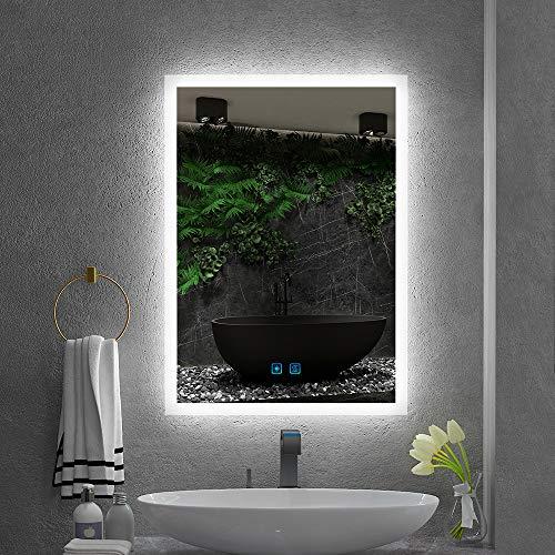 Quavikey® 500x700mm LED Verlichte Badkamerspiegels Muur Gemonteerd Met Lichten En Demister Pad Aluminium Badkamer Vanity Spiegel Voor Scheren Make-up