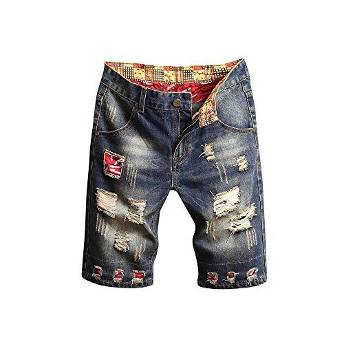 Celucke Herren Jeans Shorts Patches Kurze Hose Sommer Bermuda Denim im Used-Look, Männer Vintage Jeanshose Label Moderne Slim Fit Mix (Grau, W32)