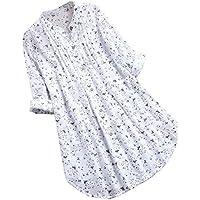Camisas Vintage Mujer Talla Grande Manga Larga, Blusas y Tops para Mujer de Encaje Patchwork Escote Redondo A-Line Túnica Fluida Camisetas Tops para Mujeres