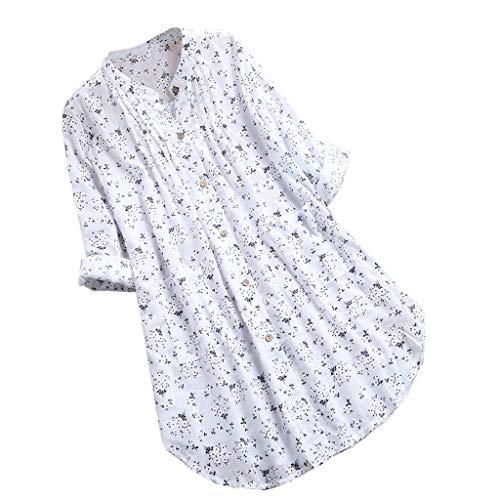 Zegeey Oberteil Damen Lose Bluse Shirt T-Shirt V-Ausschnitt Knopf Plissee Blumendruck LäSsige Tops Tunika Shirt(Weiß,48 DE/4XL CN)