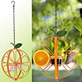 5. FORUP Oriole Bird Feeder for Outdoors Jelly and Oranges, Orange Fruit Oriole Double-Cup Jelly Bird Feeder, Outdoor Garden Metal Hanging Drinking Grape Jelly Container Hummingbird Feeder