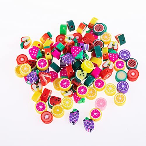 ikasus 50 cuentas de bricolaje para hacer joyas, 10 mm de arcilla polimérica, varios colores, para hacer joyas, collares, pulseras, pendientes, joyas, accesorios hechos a mano
