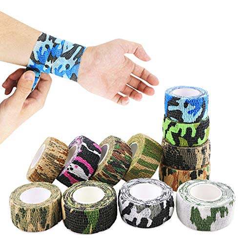 Nexxxi 12 Pack Self Adhesive Elastic Bandage Wrap Color Medical Tape for Sports, Wrist, Ankle, Camouflage Color, 1 Inch Wide and 5 Yards Long
