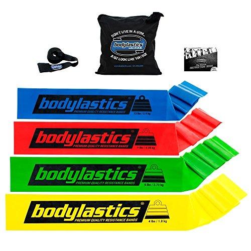 bodylastics Premium Flat Resistance Bands Set. Includes 4 Flat Resistance Bands, Door Anchor, Carry Bag.