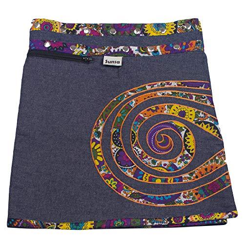 Sunsa Damen Rock Minirock Sommerrock Wickelrock aus Jeans & Baumwolle, 2 Röcke in einem, Größe verstellbar, Frau Bekleidung, Blauer kurz Jeansrock Geburtstag Geschenk für Frauen 15739