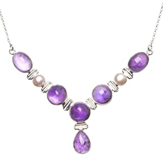 Natural Amethyst and River Pearl Handmade Boho 925 SterlingSilver Gemstone Necklace 18 1/4