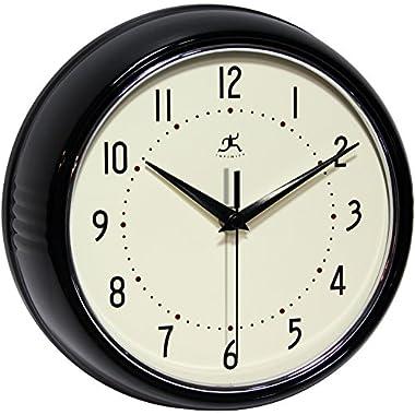 Infinity Instruments Retro Round Metal Wall Clock, Black