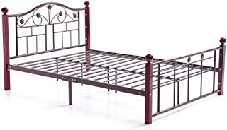 Hodedah Complete Bronze Metal Bed with Headboard, Footboard, Slats and Rails in Full Size