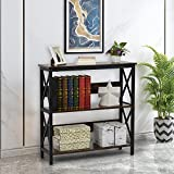 Industrial Sofa Console Table, Behind Couch Table, Bar Table for Home, 3 Tier Horizontal Entry Tables with Open Shelf for Living Room, Entry Way, Hallway (Brown)