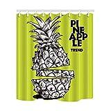 N\A Ananas-Trend des skizzengeschnittenen Ananas-Badevorhangs, wasserdichter Duschvorhang aus Polyestergewebe Duschvorhang-Haken inklusive, weiß grüngelb (Multi16)