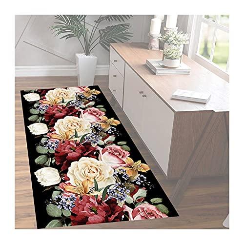 KKCF-Alfombras de pasillo, Alfombras Área Antideslizantes Vintage Diseño Floral con Estampado 3D Cuttable para Cocina Entrada Pasillo, Lavable (Color : A, Size : 1.1x6m)