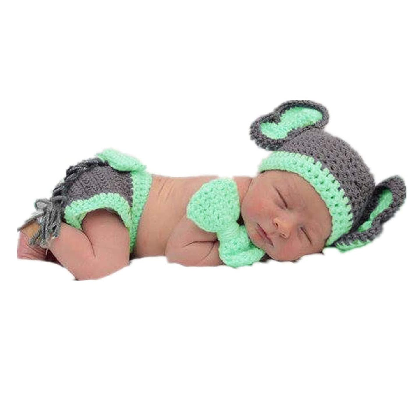 Coberllus Newborn Baby Photo Props Outfits Crochet Knitted Elephant Hat with Shorts Set for Boys Girls Photography Shoot flgovibsdlj2