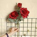 3 Teste Fiori di Seta Rosa Fiore simulato Decorazione domestica Matrimonio Azienda Fiore Strada Strada principale Arco Fiore Fiore finto, Rosso