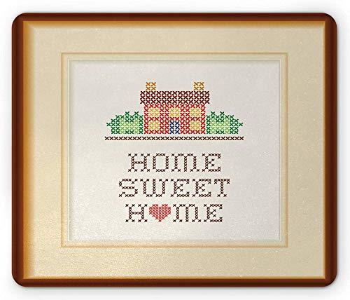 Spreuk Muismat Handcraft Look House met tuindecoratie in vierkant frame Print rechthoek anti-slip muismat