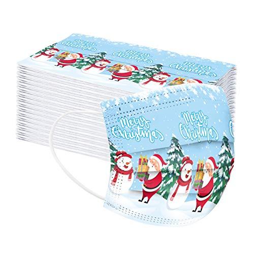 mzDkc0d Damen Herren Erwachsene Mundschutz Einweg 3-lagig mit Motiv Weihnachten Bunt Mund und Druck Maske Tücher Atmungsaktiv Mund-Tuch Weihnachten Bandana Halstuch