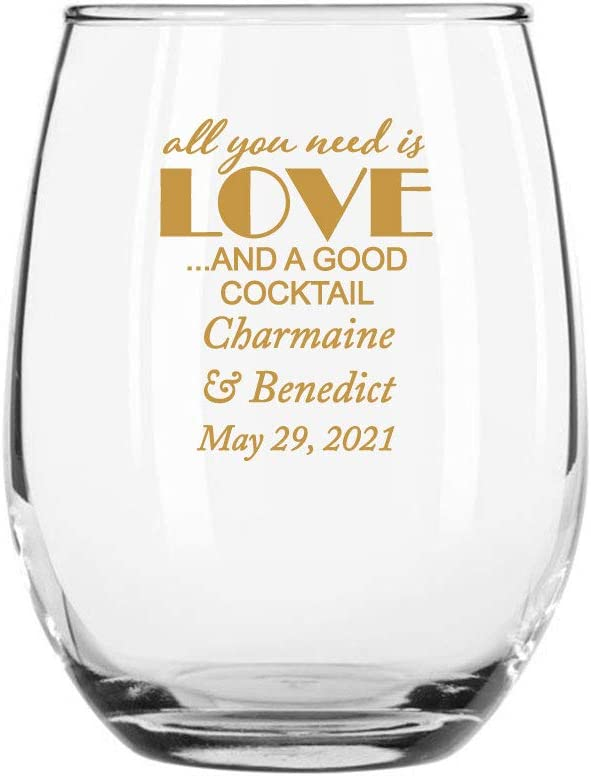 Max 78% OFF 144 Pack All You Superlatite Need Is Love A Stemless Good and Gold Cocktail