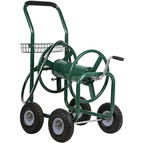 FDW Garden Hose Reel Cart with Wheels Reel Cart Tools Outdoor Yard Water Planting Truck Heavy Duty Water Planting (Green)