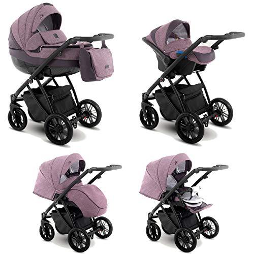 Lux4Kids Kinderwagen 2in1 3in1 Isofix Buggy Autositz 6 Farben Gratis Zubehör Zoe Lavender ZEO-6 3in1 mit Babyschale