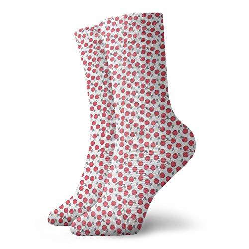 Calcetines suaves a mediados de la pantorrilla, diseño simbólico con frutas y bayas rojas, imagen repetida, calcetines para mujeres y hombres, mejor para correr ⭐