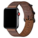 Vintage Leather Bands Compatible with Apple Watch Band 38mm 40mm 42mm 44mm,Genuine Leather Retro Strap Compatible for Men Women iWatch Series5 Series4/3/2/1(Brown+Black Connector,42mm 44mm)