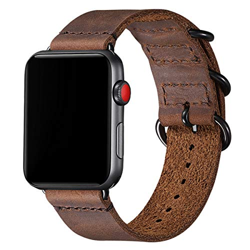 BesBand Retro Lederbänder Kompatibel mit Apple Watch Armband 42mm 44mm 38mm 40mm,Echtes Leder Vintage Armbänder Kompatibel für Männer Frauen iWatch Series6 Series5/3/2/1,SE (42mm 44mm, Braun/Schwarz)