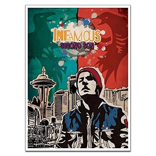 YYAYA.DS Stampa murale Infamous Second Son Wall Art Painting Poster e Stampe Immagini a Parete per la Decorazione Domestica 60x90cm