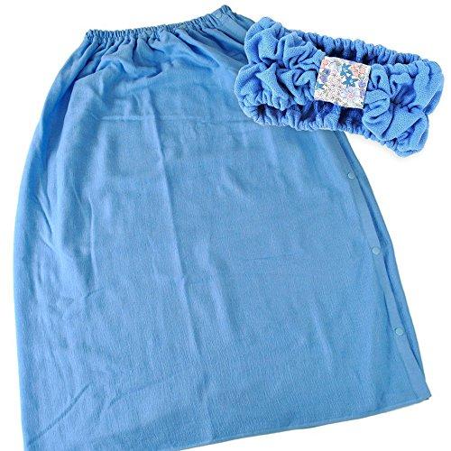 ブルーム スピードライ 大人用 ラップタオル + ヘアバンド 同色セット 綿100% 日本製 (マッドブルー) ラップヘアバン同色青