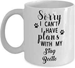Stag Beetle Mug - Sorry I Can't I Have Plans With My - Funny Novelty Ceramic Coffee & Tea Cup Cool Gifts For Men Or Women With Gift Box