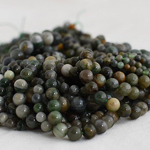 Haute qualité Grade A Naturel Xinjiang Vert jade Pierre précieuse de pierres semi-précieuses Perles rondes – 4 mm, 6 mm, 8 mm, 10 mm Tailles – 39,4 cm Strand, approx 8mm (47-50 beads)